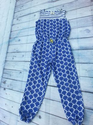 Mini Boden cornflower blue jumpsuit with shell design age 6-7